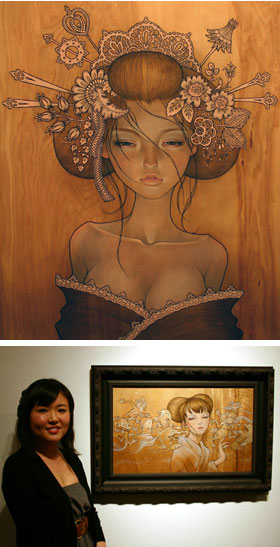 Audrey Kawasaki in front of her work