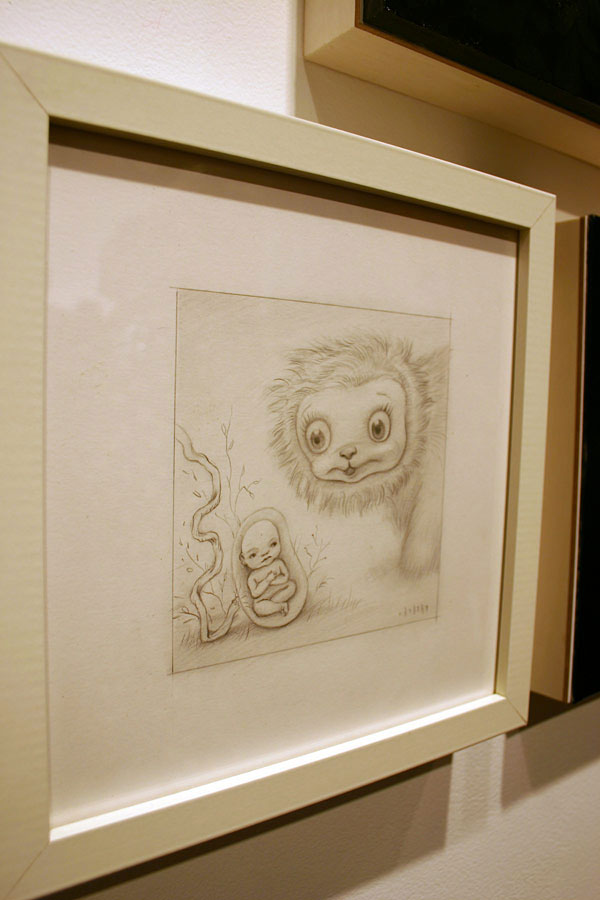 "Mark Ryden ""Yak meets Fetus"" Graphite on paper."